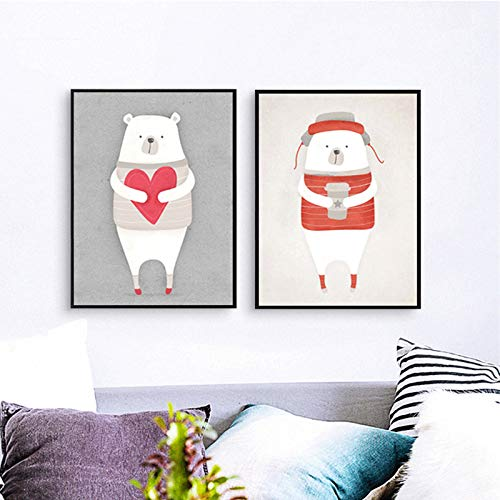 N / A Mural White Polar Bear red Heart Shaped Cute Animal Canvas Painting Picture Children's Room Decoration Frameless 80x110cm