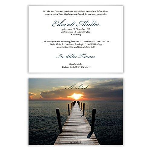 Individuelle Trauerkarten (30 Stück) Einladung Trauerfeier Karten - Licht am Ende des Stegs