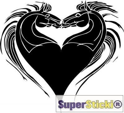 SUPERSTICKI kussende paarden hart liefde muursticker ca 60 x 60 cm hobby decoratie