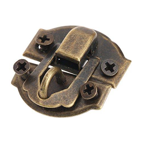 12Piezas Latón antiguo de la joyería caja de madera decorativa del cerrojo del cerrojo de cierre de la cerradura con los tornillos