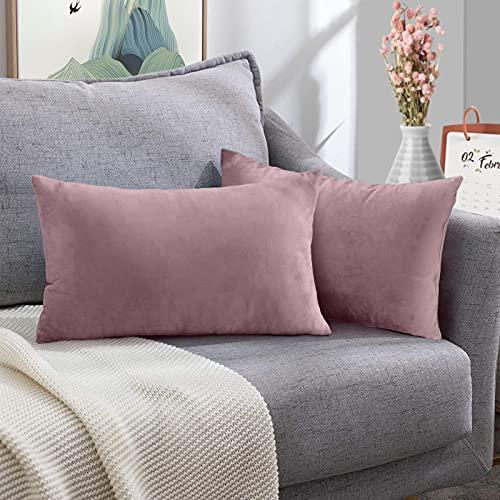FORTRY Juego de 2 fundas de cojín de terciopelo suave y sólido, 30 x 50 cm, funda de cojín decorativa para sofá, dormitorio, color rosa y lila