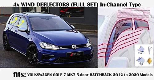 Set di 4 deflettori d\'aria a canale, compatibili con VW MK7 VOLKSWAGEN GOLF 7 Berkback 5 porte R GTI GT 2012 203 2014 2015 2016 2017 2018 2019 2020 vetro acrilico lato visiere deflettori finestra