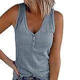 Mujer Verano Tank Top Punto Cuerpo Tops Cuello en V Punto Flojo Sin Mangas Tops Camisa,Azul,S
