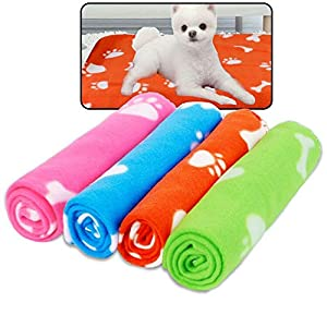 Prsildan Dog Blankets, Warm Fleece Puppy Blankets Pet Throws for Dogs Bed Covers 24 x 28 Inches 4 Packs
