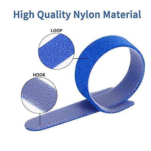 Dapzon 5 colores Bridas Reutilizables, 100 Piezas Ataduras Cables con 3m Nylon Gancho y Lazo Cable Corbatas, Ajustable… 2