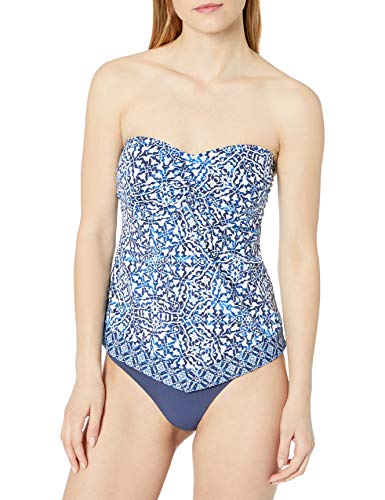 24th & Ocean Women's Retro Bandeau Handkerchief Tankini Swimsuit Top, Navy//Mosaic Tile, X-Large