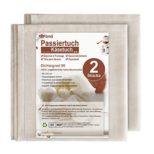 eFond Passiertuch, Käsetuch im 2 Stücke zum Zubereiten und Passieren von Speisen, 100% Reine Baumwolle Seihtuch 60x60 cm, sauber umgeschlagene Gewebekanten, feingewebt Dichtegrad 90, wiederverwendbar