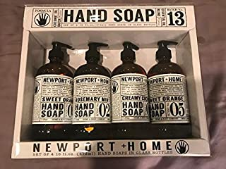 Newport Home Gift Box Hand Soaps 4 pack 16oz each. with Coconut Oil and Essential oils in Glass Bottles 2 Bottles of Sweet Orange, 1 Bottle of Creamy Coconut, and 1 Bottle of Rosemary Mint