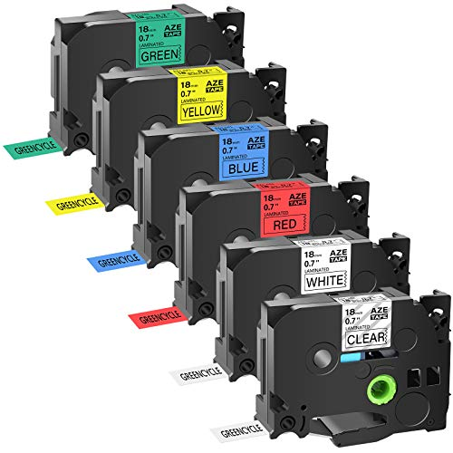 """GREENCYCLE Compatible for Brother TZ TZe AZE 241 141 441 541 641 741 18mm 0.7"""" Label Tape Black on White Clear Red Blue Yellow Green for P-Touch PT-P710BT PTD400 PTD600 PT-P700 Label Maker-6 Pack"""