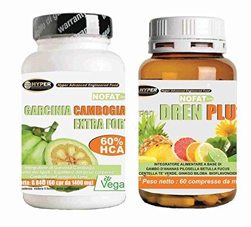Integratori dimagrimento Kit 2 prodotti | Garcinia Cambogia extra forte 60 compresse Bruciagrassi - Favorisce la Perdita di Peso 1000 mg per Compressa + Drenante Diuretico Naturale | Dren Plus 60 cpr