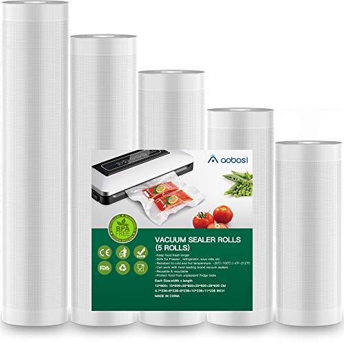 Aobosi Vakuumrollen Vakuumierfolie Rolle für alle Folienschweißgeräte,5 Rollen (12+15+20+25+28) cmx600cm-Premium Qualität Folienbeutel Folienrollen Für Sous Vide BPA Frei und LFGB Zugelassen