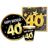 Partycolarità Kit Monouso 40° Compleanno - Set Stoviglie Quarantesimo Compleanno - 6 Piatti, 6 Bicchieri e 20 Tovaglioli - Quarant'anni - Happy Birthday 40