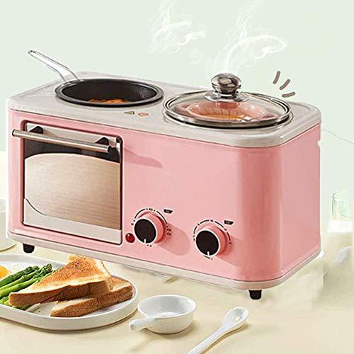LXTIN Brotbackmaschine Multi-Funktions-3 in1, Frühstück Maschine Toaster Teppanyaki Ofen Brot Non-Stick Topf Toaster Back Maker Bratpfanne Pizza Herd,leicht zu bedienen,Rosa