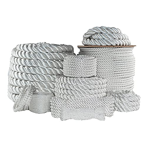 """SGT KNOTS Twisted Nylon Rope - Multipurpose Utility Line for Crafts and Heavy Load Uses (3/8"""" x 600ft Spool, White)"""