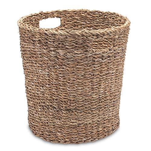 Gruener Handel Papierkorb Seegras Rund mit Eingriff - Natur - Handarbeit - Fair Trade (Ø 35cm)
