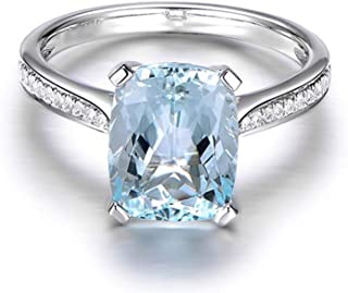 6ct Cushion Cut Natural Sky Blue Topaz Wedding Band Anniversary Engagement Ring 925 Sterling Silver