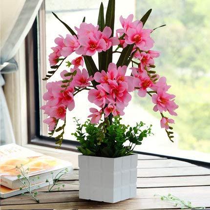 LLDKA Kunstbloemen, bruiloft, cadeau voor vakantie, orchidee, bloemen, huisje van het leven, een grote pot van kunststof, ornament