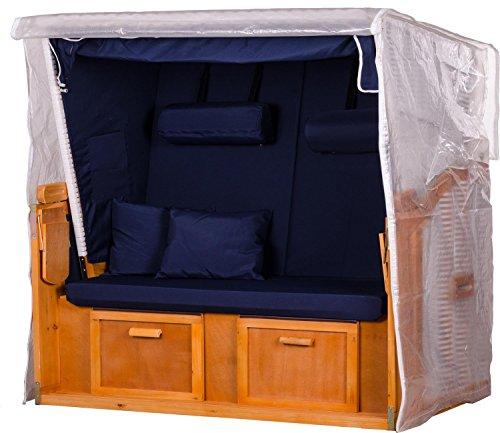 Mr. Deko Transparente Strandkorbabdeckung aus PVC - 160 x 160 x 80 cm/ Größe XXL - Schutzhülle für Strandkorb - wasserdicht & wetterfest - Robuste Abdeckplane mit Reißverschluss für 3-Sitzer