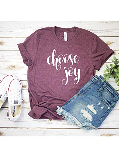 Choose Joy T Shirt Womens T-Shirt Casual Top Graphic Tee Short Sleeve Shirt Inspirational T Shirt Happy T-Shirt
