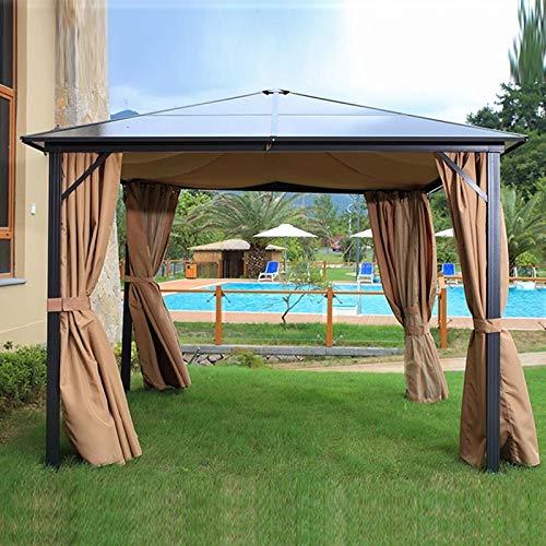 BNXXINGMU 10 'x 12' Techo Duro al Aire Libre Patio Gazebo Canopy Postes de Aluminio Soporte Patio Trasero Hardtop