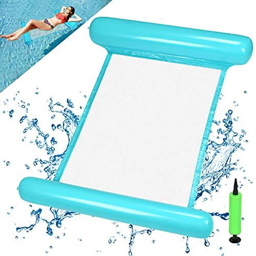 EKKONG Wasserhängematte Aufblasbare, Luftmatratze Pool Aufblasbares Schwimmbett Wasser Hängematte Float Badehängematte 4-in-1 für Erwachsene und Kinder Sommer Party Schwimmbad Meer Freien (Blau)