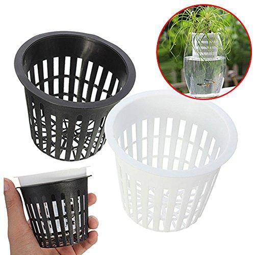 10 pcs hydroponique plantation paniers en maille, Pot de plantation Filet Plastique paniers Jardin de croissance de football, Noir , Taille unique