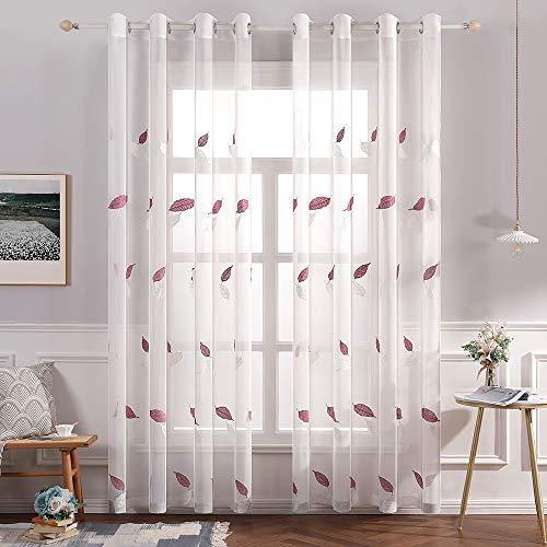 MIULEE Cortina Visillo Bordado Translucido de Dormitorio Moderno Decor