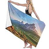 Toalla de baño Morning Rainbow y Green Field Montañas y Alpes Photo Toallas de Fibra extrafina 100% Secado rápido Altamente Absorbente para Uso Diario Baño SPA Viajes 32 'x52'