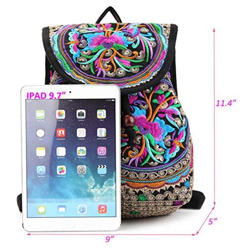 Embroidery Backpack Purse for Women Vintage Handbag Small Drawstring Casual Travel Shoulder Bag Daypack