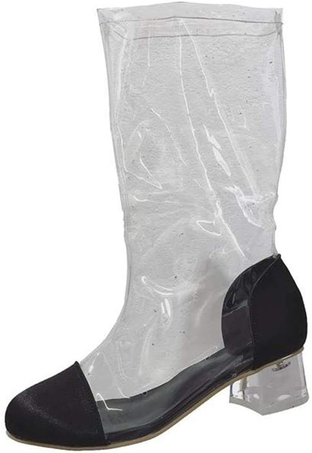 Gusha Transparent Tube Boots Ladies Round Toe Thick Heel Boots Martin Boots