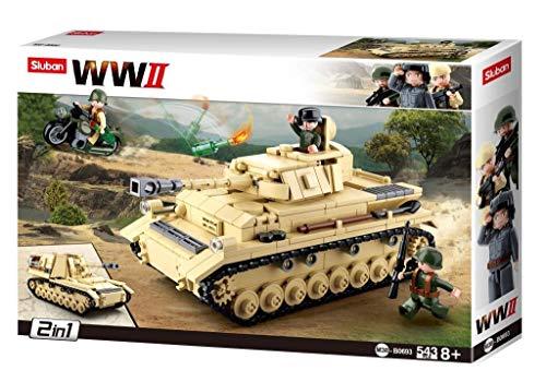 Sluban Klemmbausteine SL95565, WWII - Deutscher Panzer [M38-B0693], Spielset , Klemmbausteine, Soldaten, mit Spielfigur, Army WWII, Multi Color