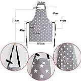 MEJOSER Sterne Schürze mit Tasche Verstellbare Kochschürze Küchenschürze Latzschürze Grill Bakcen Damen Schürze für Frauen Kochen Arbeit Hausarbeit (Grau) - 4