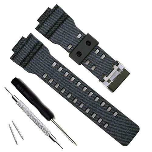 Correa de repuesto de resina natural para reloj Casio G-Shock GD120/GA-100/GA-110/GA-100C (Cross Pattern-Navy Blue)