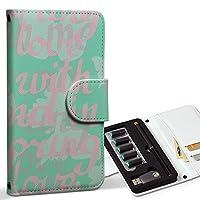 スマコレ ploom TECH プルームテック 専用 レザーケース 手帳型 タバコ ケース カバー 合皮 ケース カバー 収納 プルームケース デザイン 革 英語 パステル 緑 011125