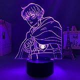 Lámpara de noche 3D, ilusión 3D, anime, armadura, lámpara 3D, Attack on Titan LED, luz nocturna para niños, decoración de Navidad, cumpleaños, regalo, manga, juguete, lámpara de mesa, 7 colores