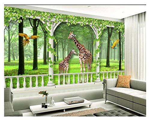 Great Jungle Animal Décoration 3D Papier Peint de l'enfant Salon Salon Décoration Personnel Personnel Girafe Animal Photo Fond d'écran Moderne Mur Art Décoration (Size : 79x39 inch)