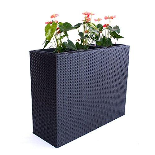 Elegant Einrichten XXXL Pflanztrog Polyrattan als Raumteiler 106x40x84cm schwarz.
