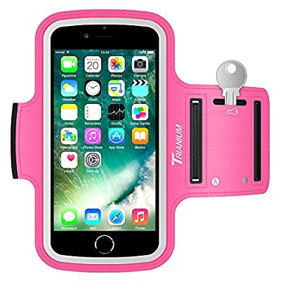 Trianium Armband For iPhone 8 7 6 6S Plus x, LG G6 G5, Galaxy s8 s7 s6 Edge, Note 8 5 (Fit Otterbox Defender/Lifeproof case) ArmTrek Pro Sport Exercise Running Pouch Key Holder -Hiking,Biking,Walking