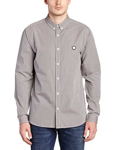 Pretty Green - Chemise casual Homme - Glendale Gingham, Bleu (Navy), X-Small