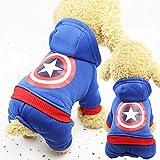 ペット犬服 秋冬衣装 ファッション 中小型犬/猫用 パーカー ジャケット コットン 保温 子犬 お散歩お出かけウェアに 可愛い 70 (XL, 濃いブルー)