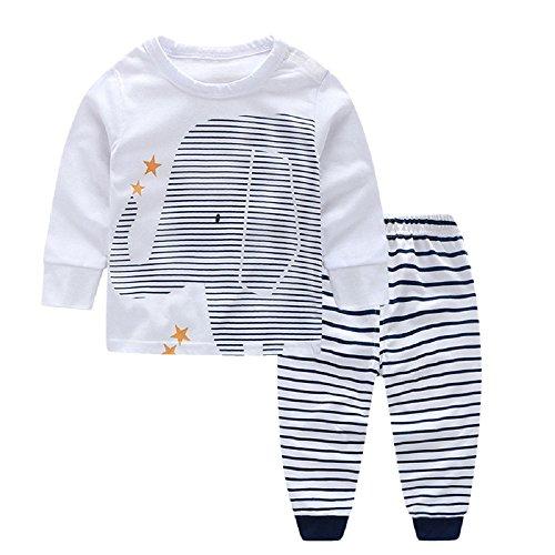 Conjunto de Ropa para Bebés 2 Piezas Camisa Larga + Pantalones Mamelucos Conjunto de Trajes con Estampado de Elefante de Primavera