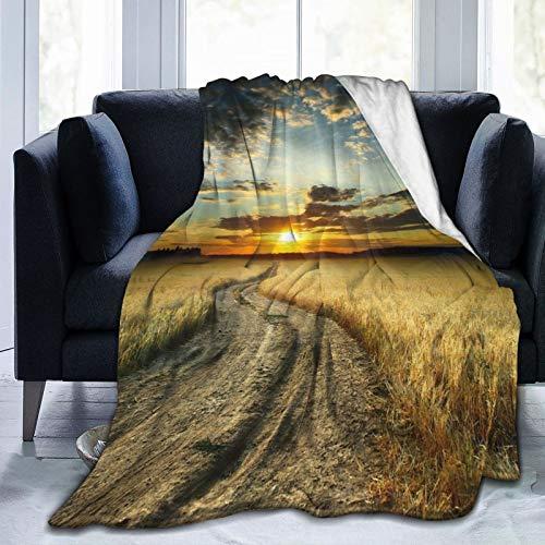 Manta mullida, camino en el campo con jardín de trigo amarillo maduro bajo nublado paisaje cielo atardecer, ultra suave, manta para dormitorio, cama, TV, manta para cama de 152 x 127 cm