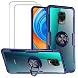 VICEANICS for Xiaomi Redmi Note 9S Case, Redmi Note 9 Pro Crystal Clear Armor Case Cover with Magnetic Finger Ring Holder Kickstand & [2 Pack] Tempered Glass Screen Protector, Blue