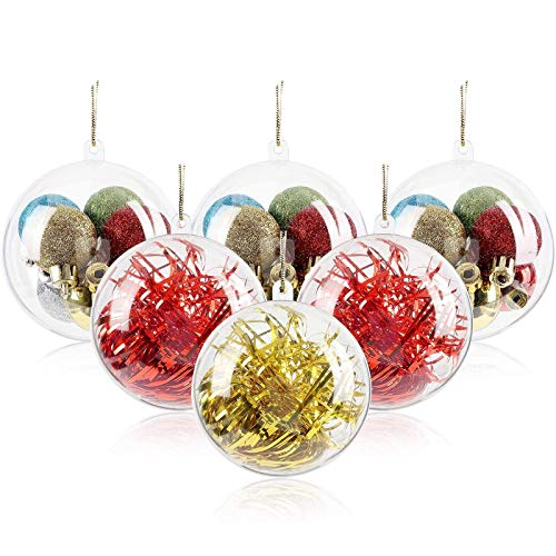 Koogel 20 Pcs Clear Plastic Baubles, 8 cm Acrylic Fillable Baubles Transparent Christmas Ball Ornaments for Xmas New Year Gift Tree Decoration