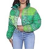 PDYLZWZY Chaqueta corta con cuello alto para mujer, con estampado de cachemira, con cremallera corta, verde, M