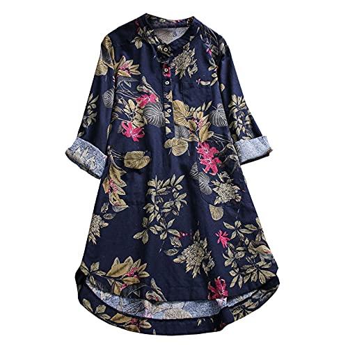 Boho Tops de Verano para Mujer Tallas Grandes Blusas Florales Casuales Camisas Manga Corta Camisetas con Cuello en V de botón