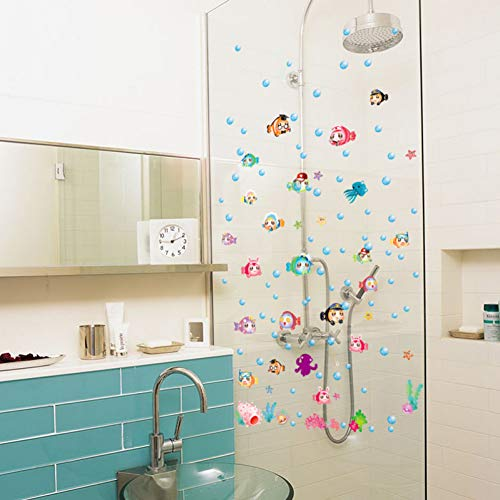 TAOYUE Cartoon Fish Kwekerij Badkamer Tegel Glas Verwijderbare Zelfklevende Muurstickers Waterdichte Decor Art Mural