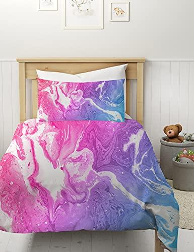 MUSOLEI Marmor-Bettwäsche-Set, Einzelbett, bunt, Rosa, Blau, Lila, abstrakte Kunst, Bettbezug, 3-teilig, helle Mädchen-Tagesdecken, Reißverschluss mit Kissenbezug