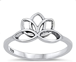 Beautiful Spiral Lotus Flower Ring New .925 Sterling Silver Band Sizes 4-10