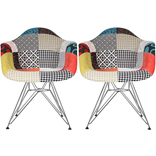 2xhome - Set of Two (2) - Multi-Color - Modern Upholstered Armchair Fabric Chair Patchwork Multi-Pattern Chromed Wire Leg Eiffel Dining Room Chair with Arm for Living Room Dining Room